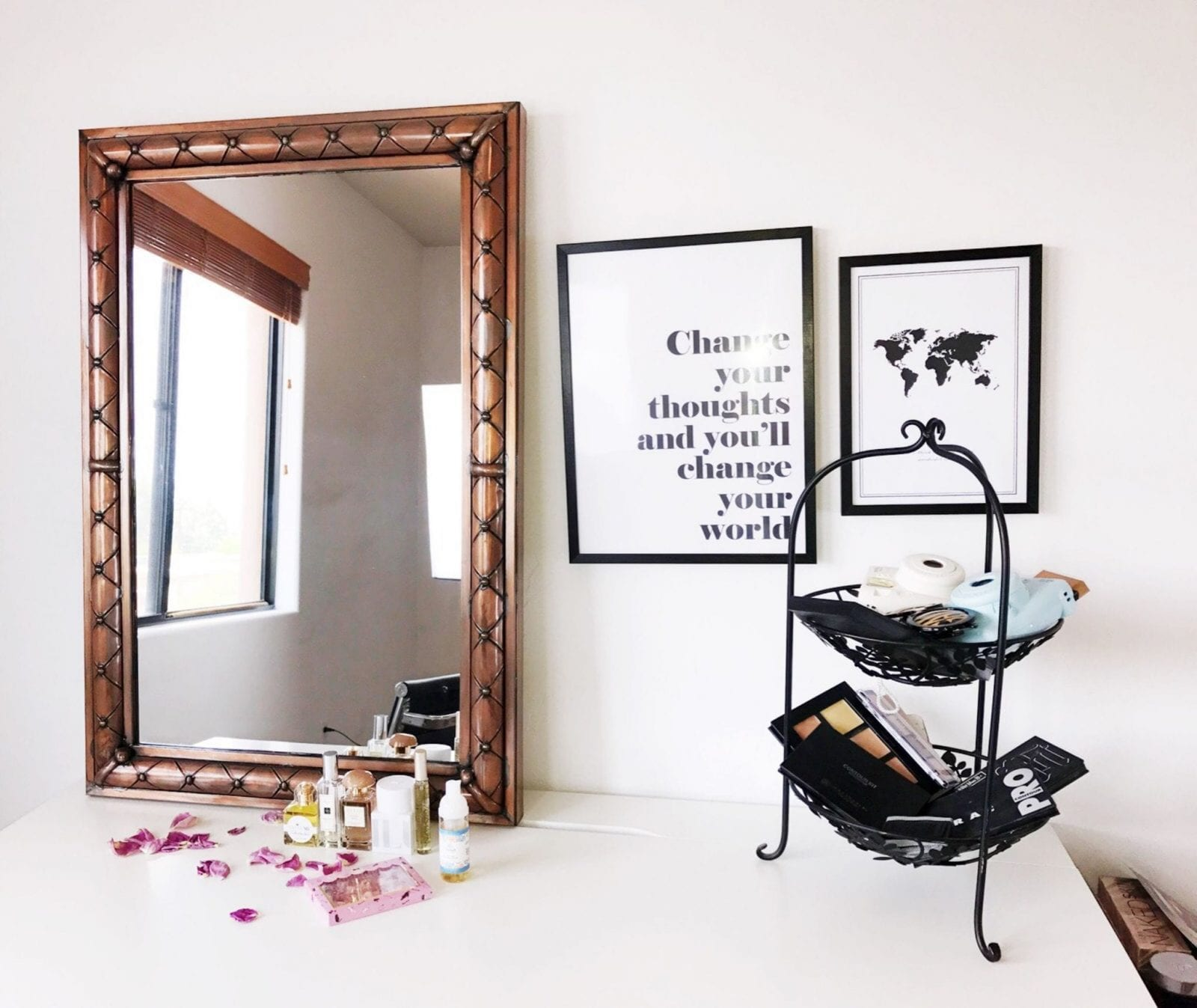 This is a close up of my beauty room and vanity, where my night time and day time routines begin!