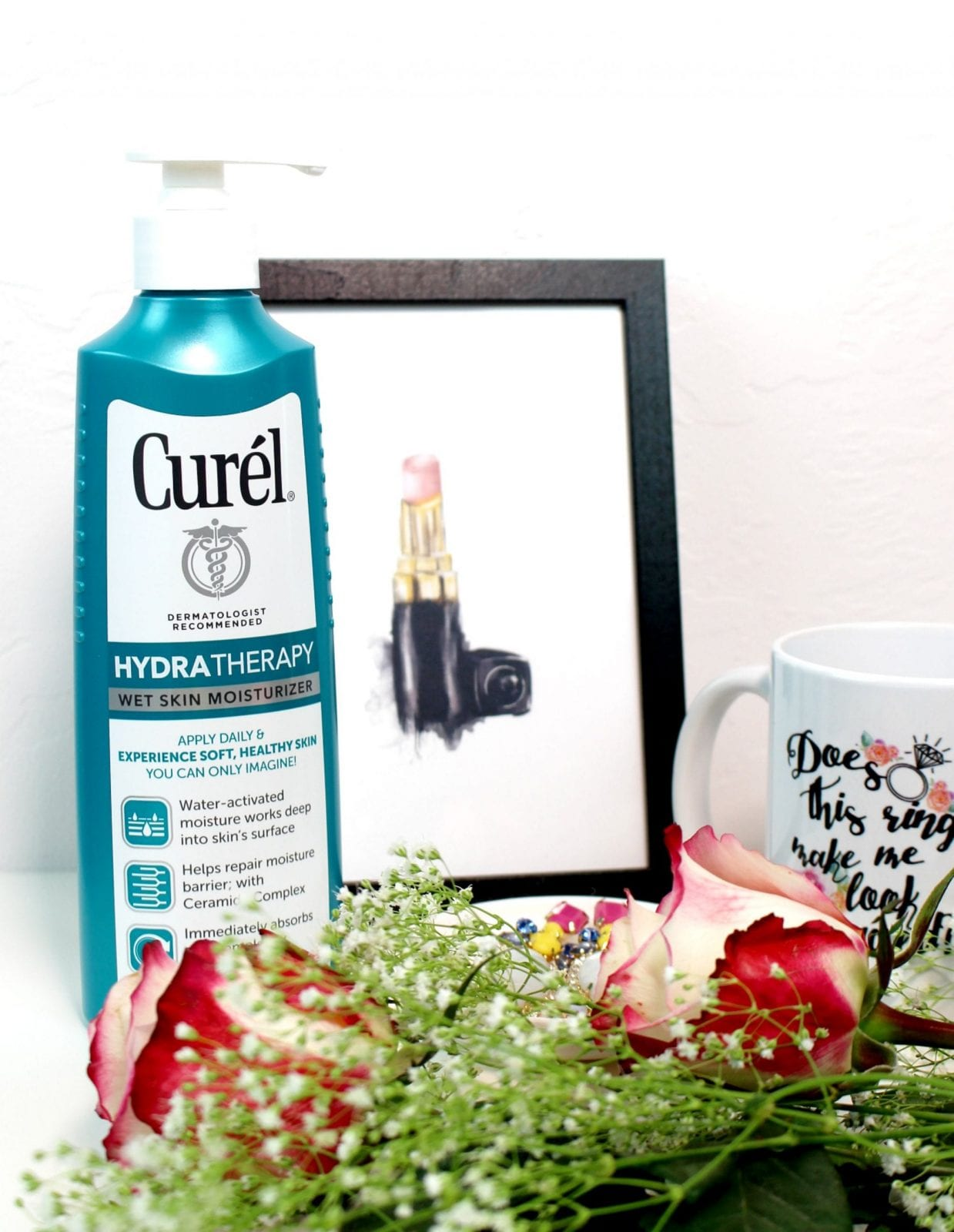This is a display of my desk featuring the Curel Wet Skin Moisturizer