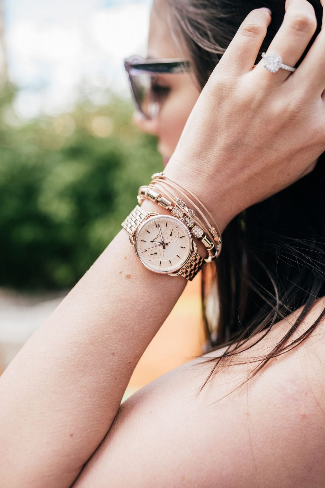This is a close up of my Fossil watch and Fossil bracelets.