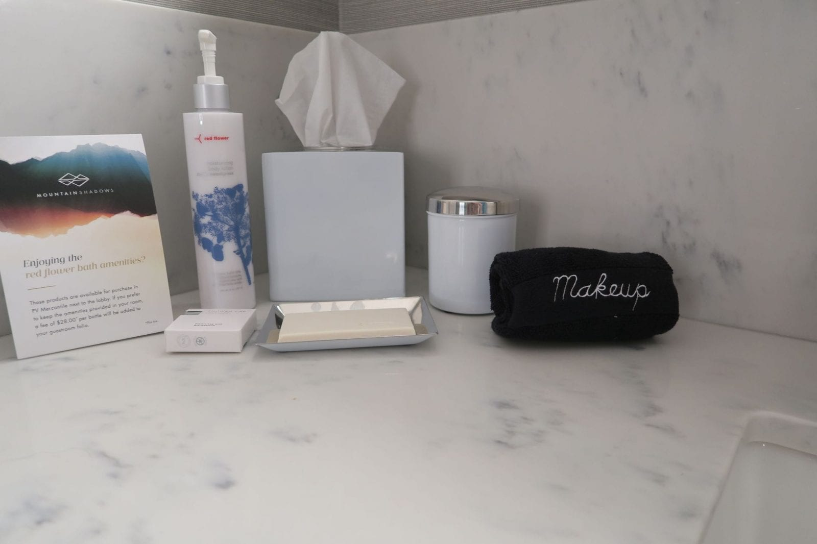 This is a view of the bathroom set up with the toiletries and necessities at Mountain Shadows.