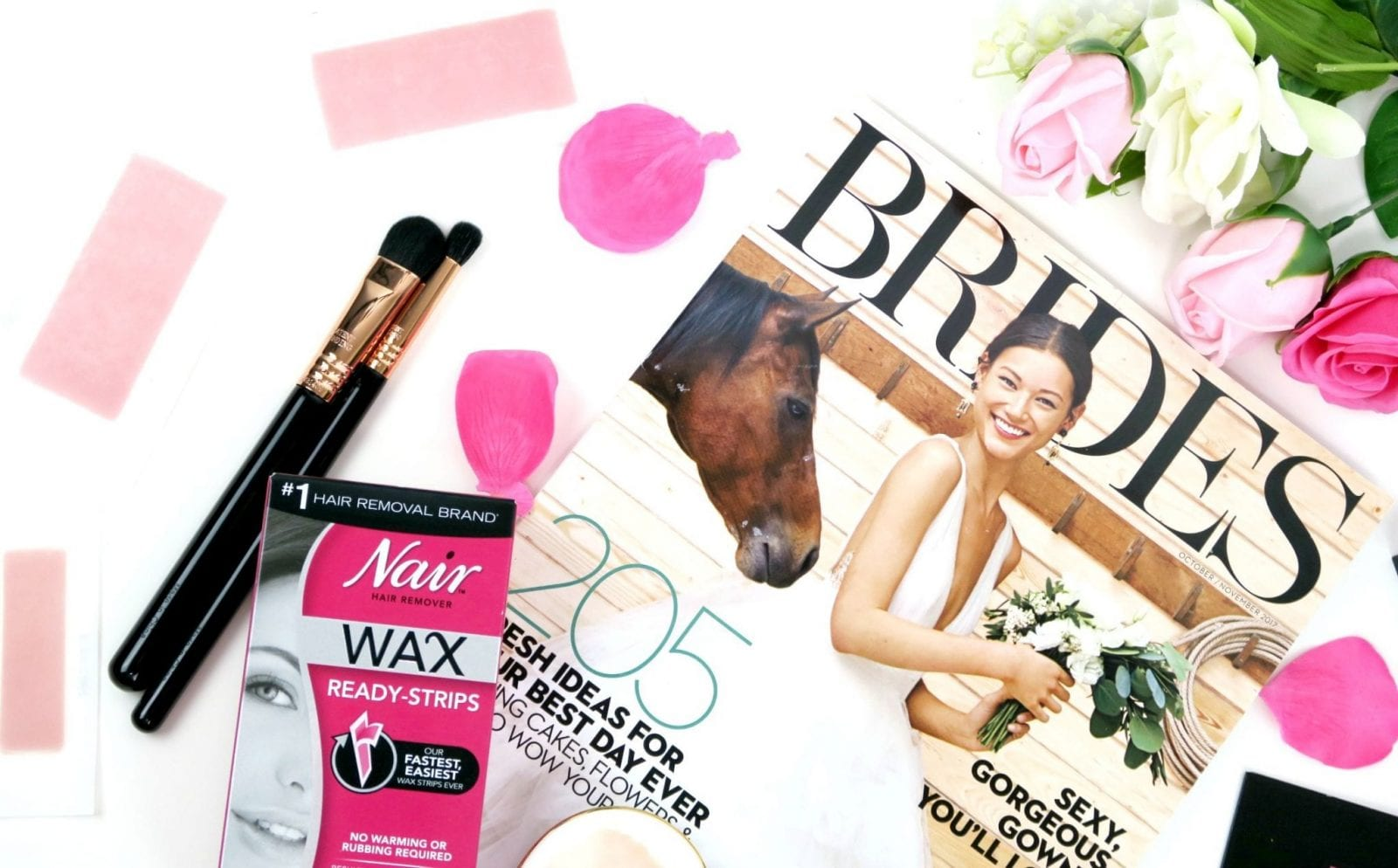 Close up of Nair Wax Strips and BRIDES Magazine