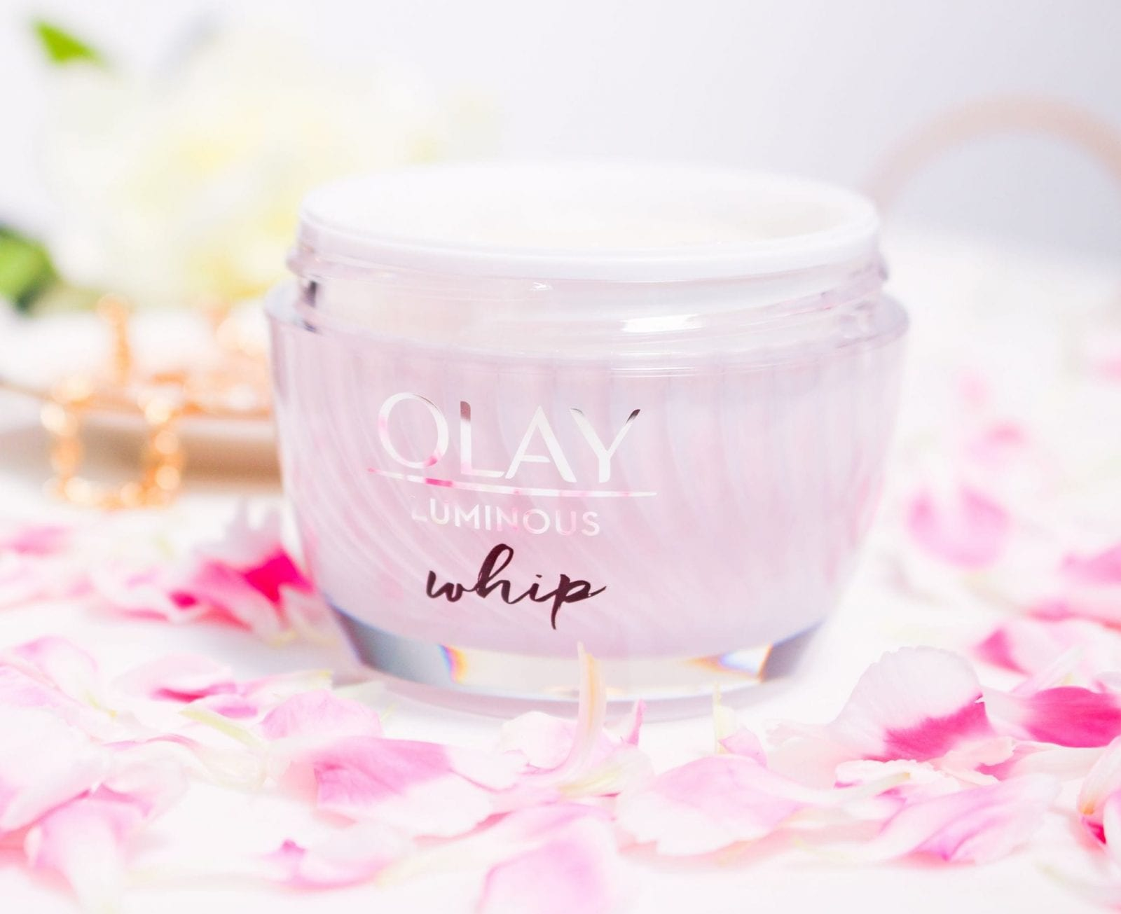 This is a close up of me holding the Olay Whips Moisturizer before application.