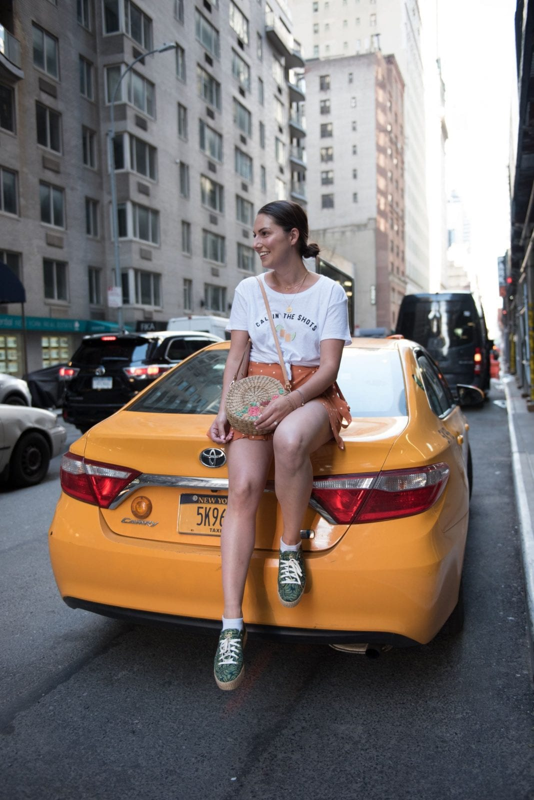 This is a photo of me sitting on a yellow taxi cab in New York City.