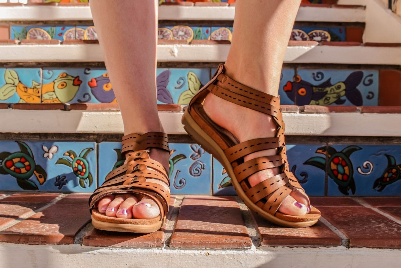 This is a close up of the Baretraps gladiator sandals from Macys.com