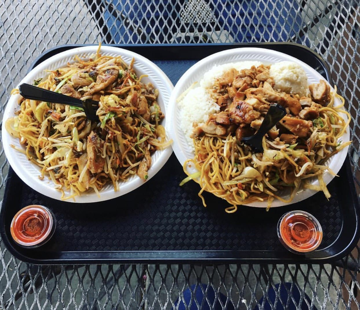 This is a close up of stir fry noodles from Ikkyu.