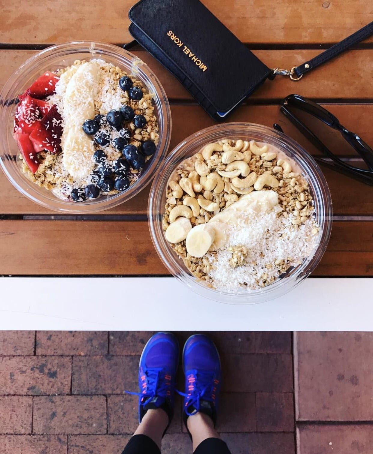 This is a close up of 2 acai bowls from Whole Foods.