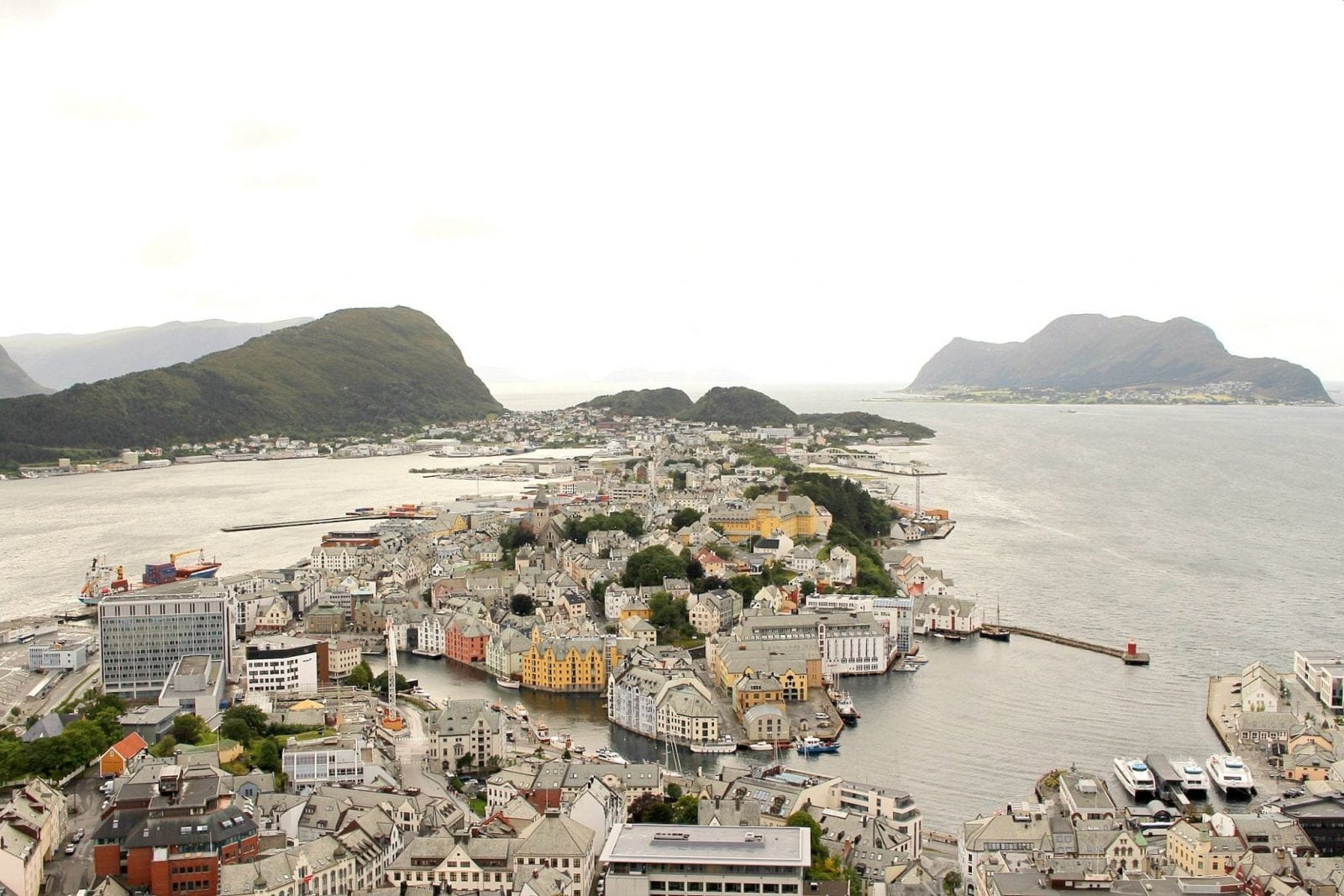 This is a shot of Alesund from the 412 steps above. You can see the entire city.