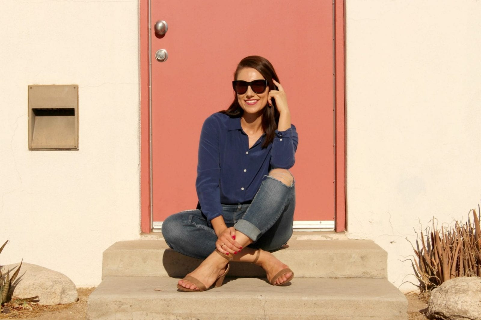 Rocking an Everlane blouse wiht blue jeans and ZooShoo sandals.