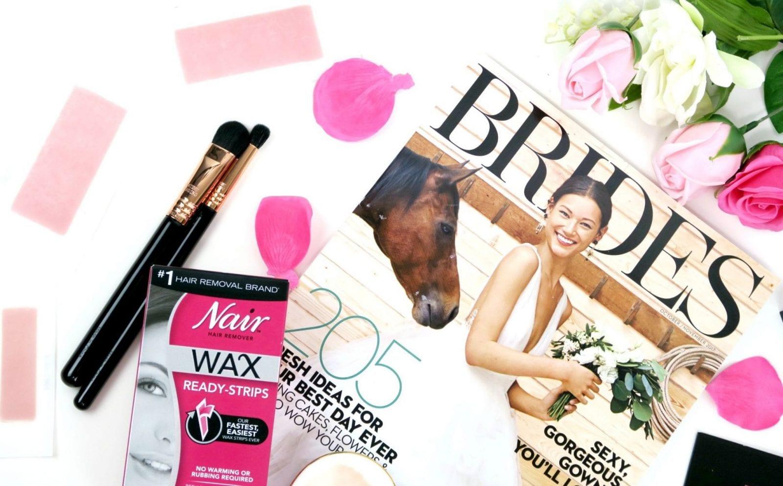 Close up of Nair Wax Strips and BRIDES Magazine
