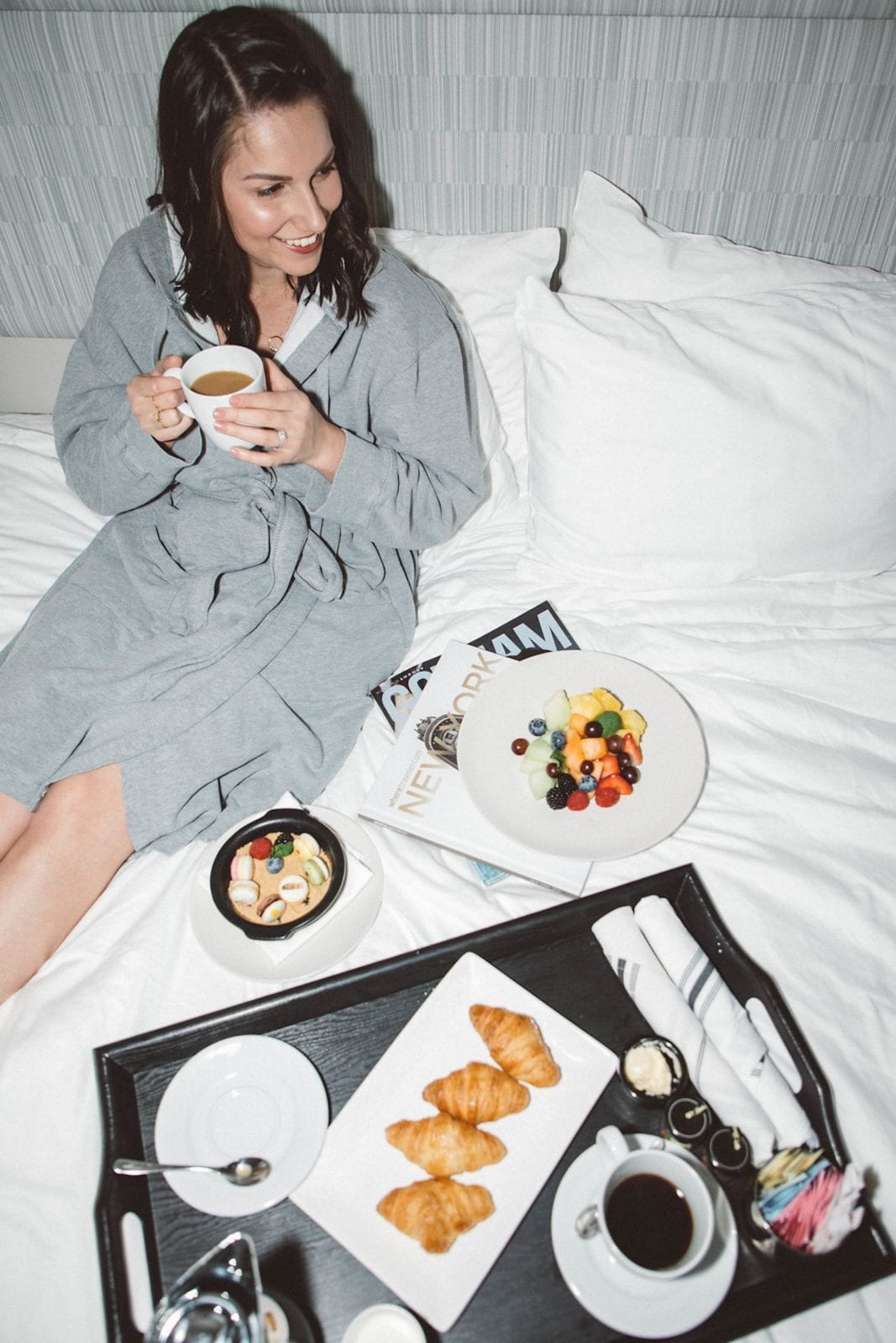 Eating Breakfast in Bed at The Innside by Melia in New York City.