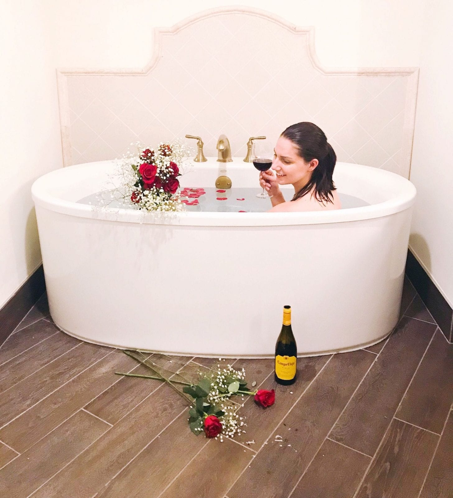 Enjoying the floating tub at the Sedona Rouge Hotel & Spa.