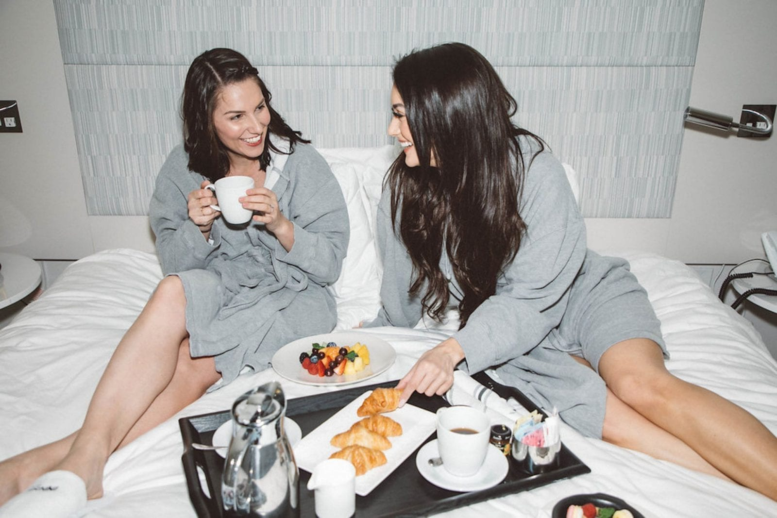 This is a close up of Tonya and I wear robes at The Innside by Melia in New York City.