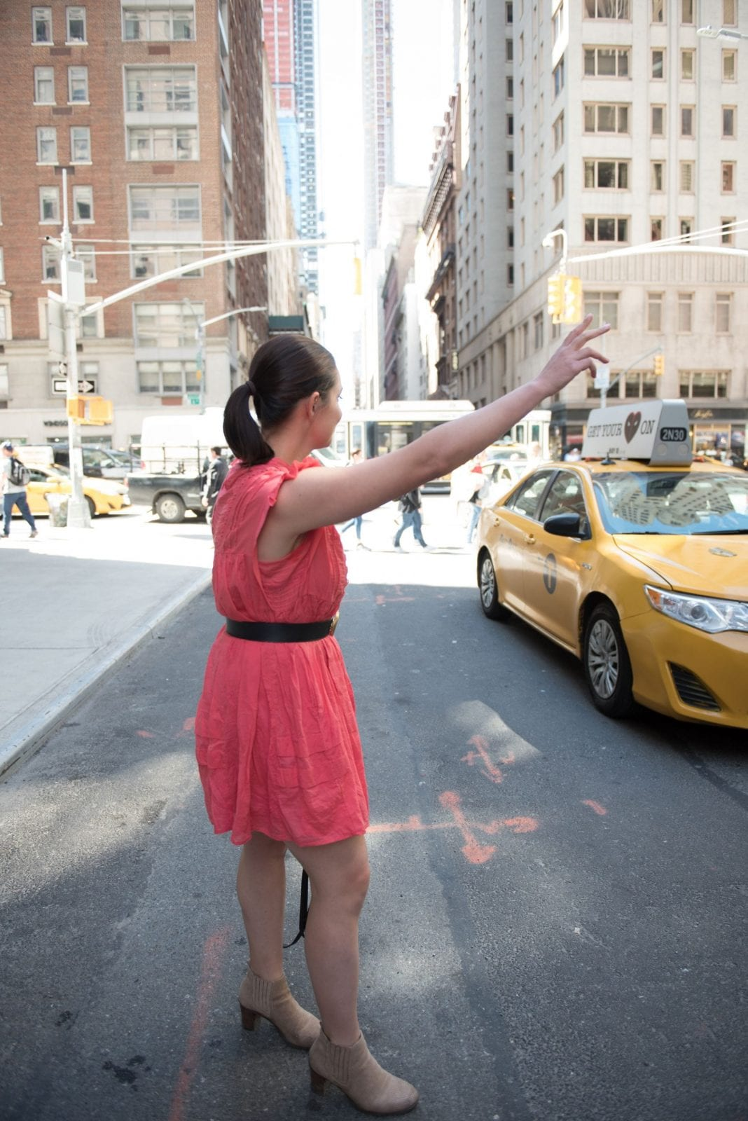 This is me attempting to hail a cab in New York City.