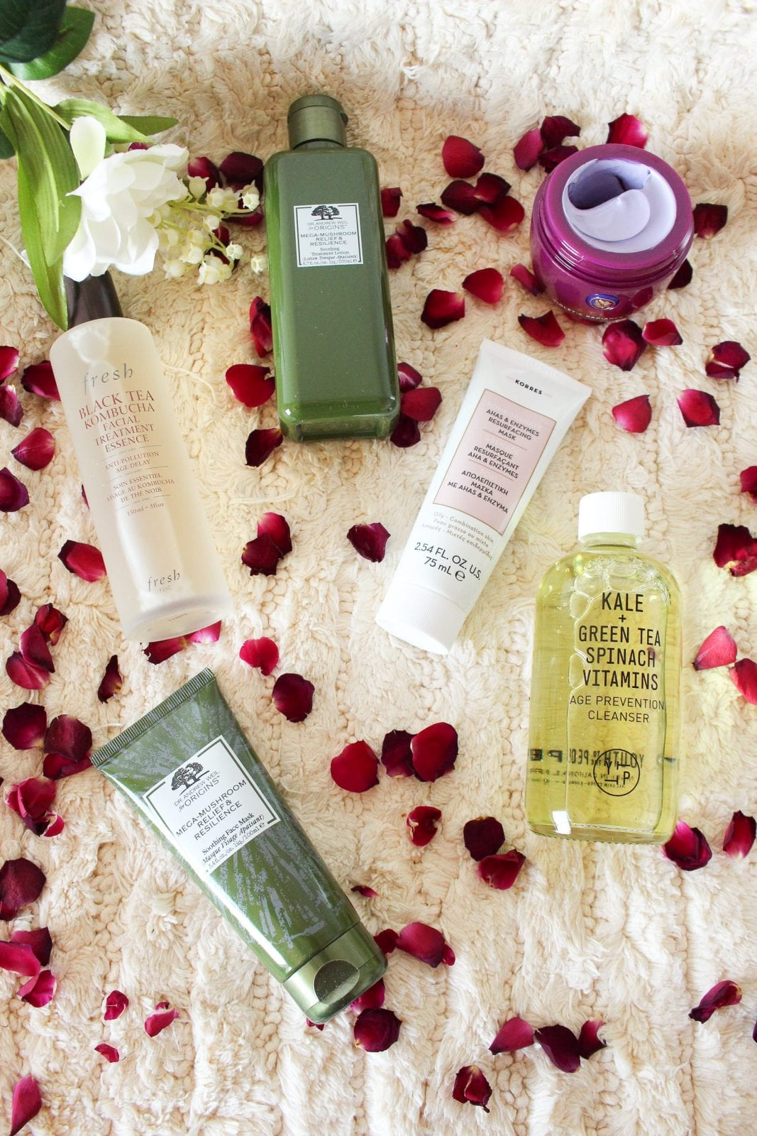 This is a flat lay of skincare favorites from Sephora Inside JCPenney.