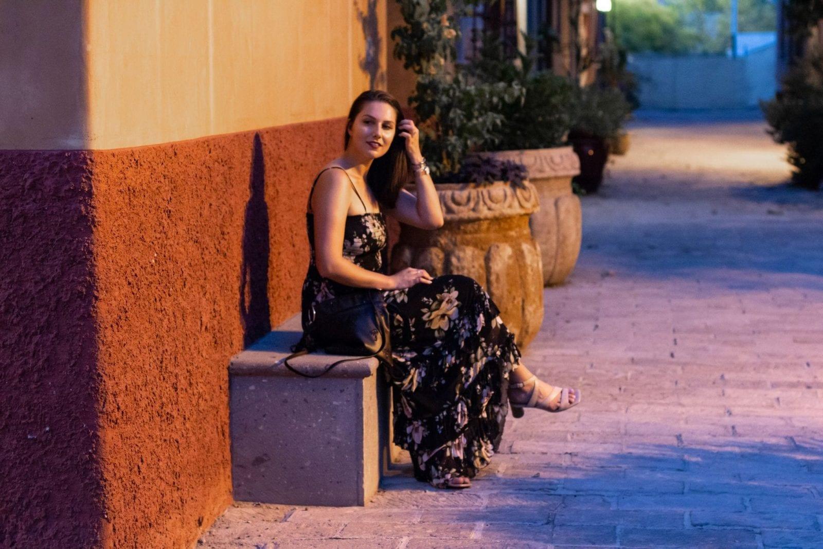 Sitting on a Bench in San Mercado Agustin in Tucson Arizona.