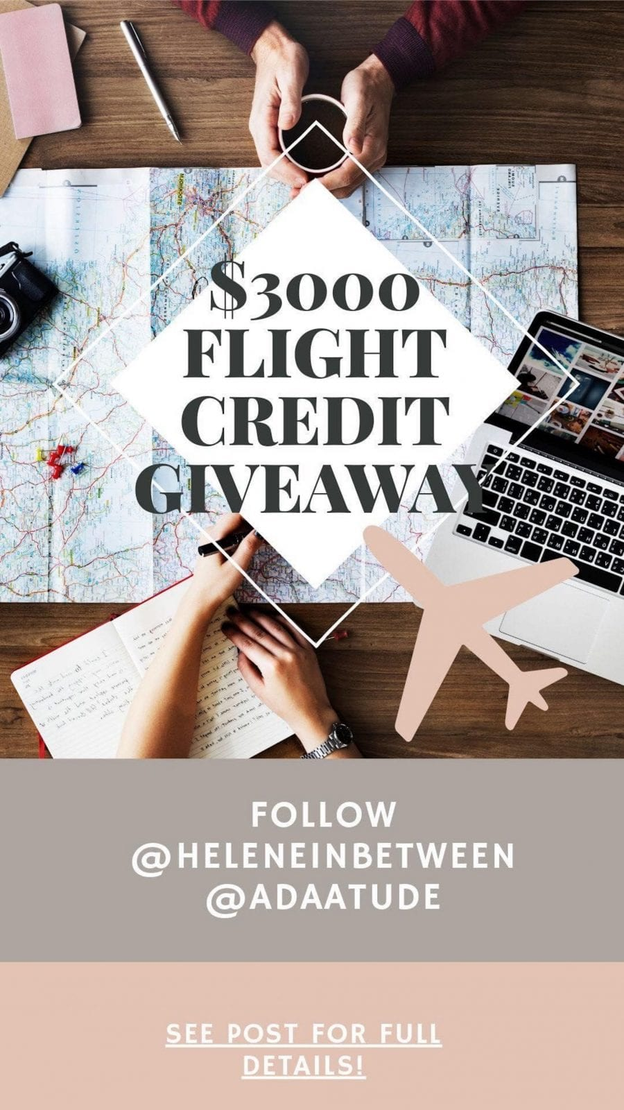 This is an image of the $3,000 flight credit giveaway.