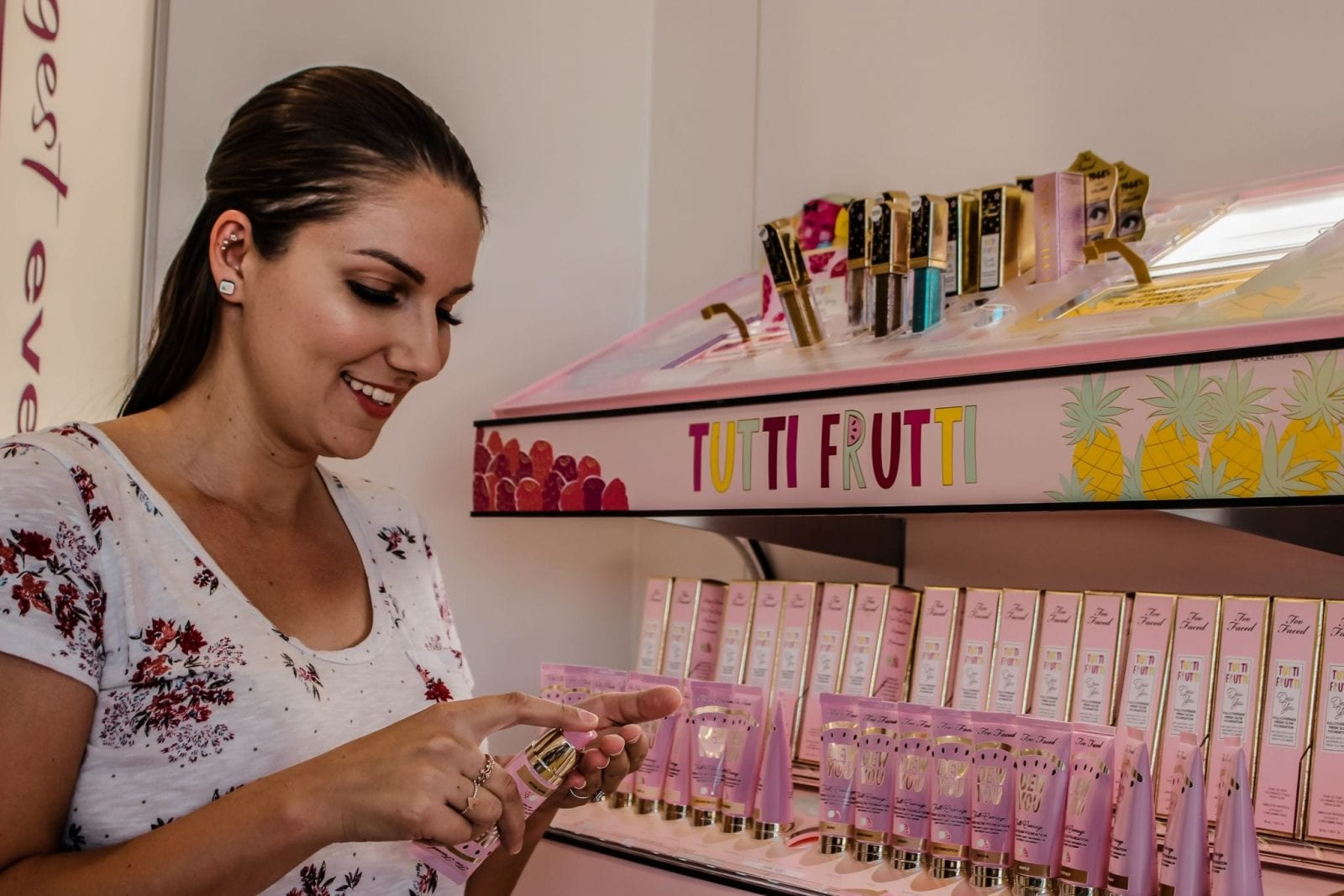 This is a close up of me testing the new Tutti Frutti Collection from Too Faced at Ulta Beauty.