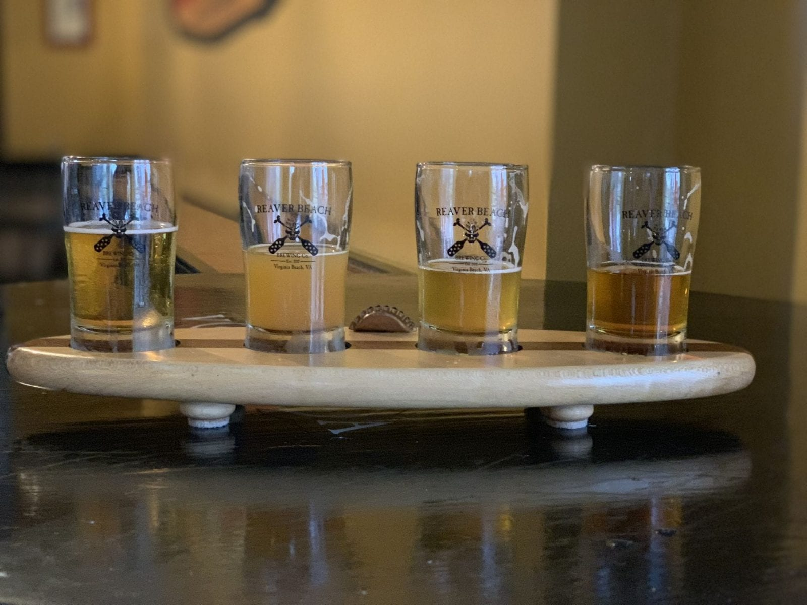 This is a close up of the Reaver Beach IPA flight in Virginia Beach.