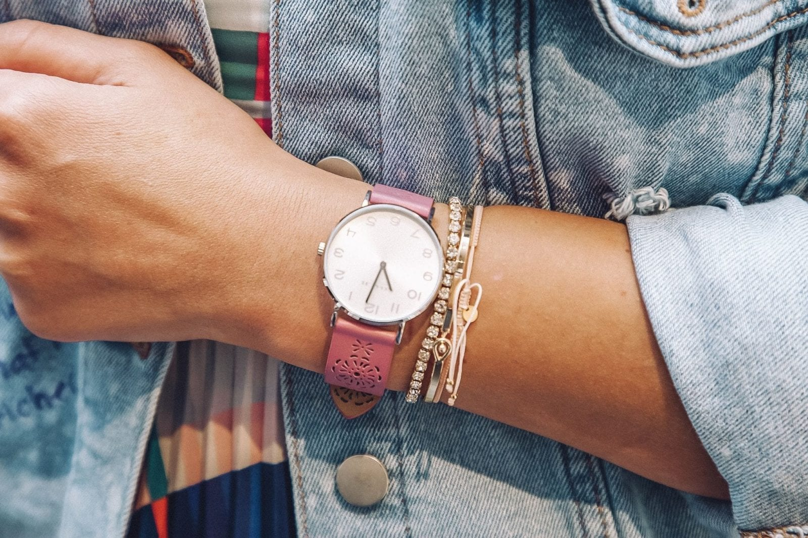 This is a close up of my arm candy featuring a gorgeous lilac Coach watch from Macy's.