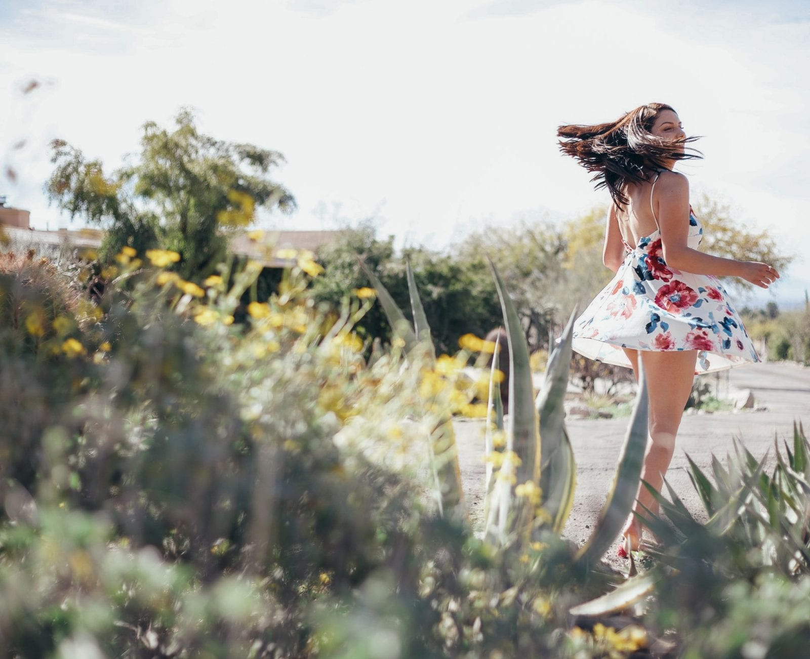 I am twirling in Sonoran desert landscape, in a Pink Lily floral dress. My hair is flipping to the right as I twirl.