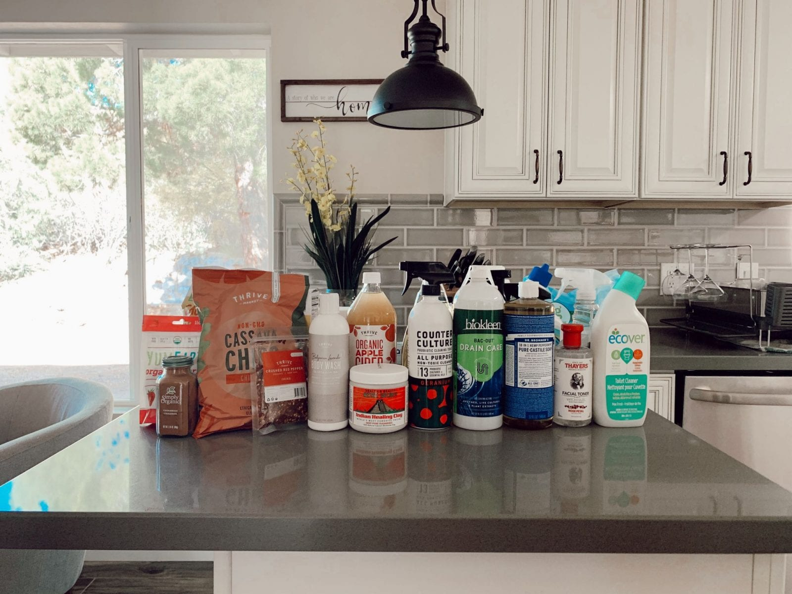 This is a complete photo of my Thrive Market spring order, including lots of household cleaning products.