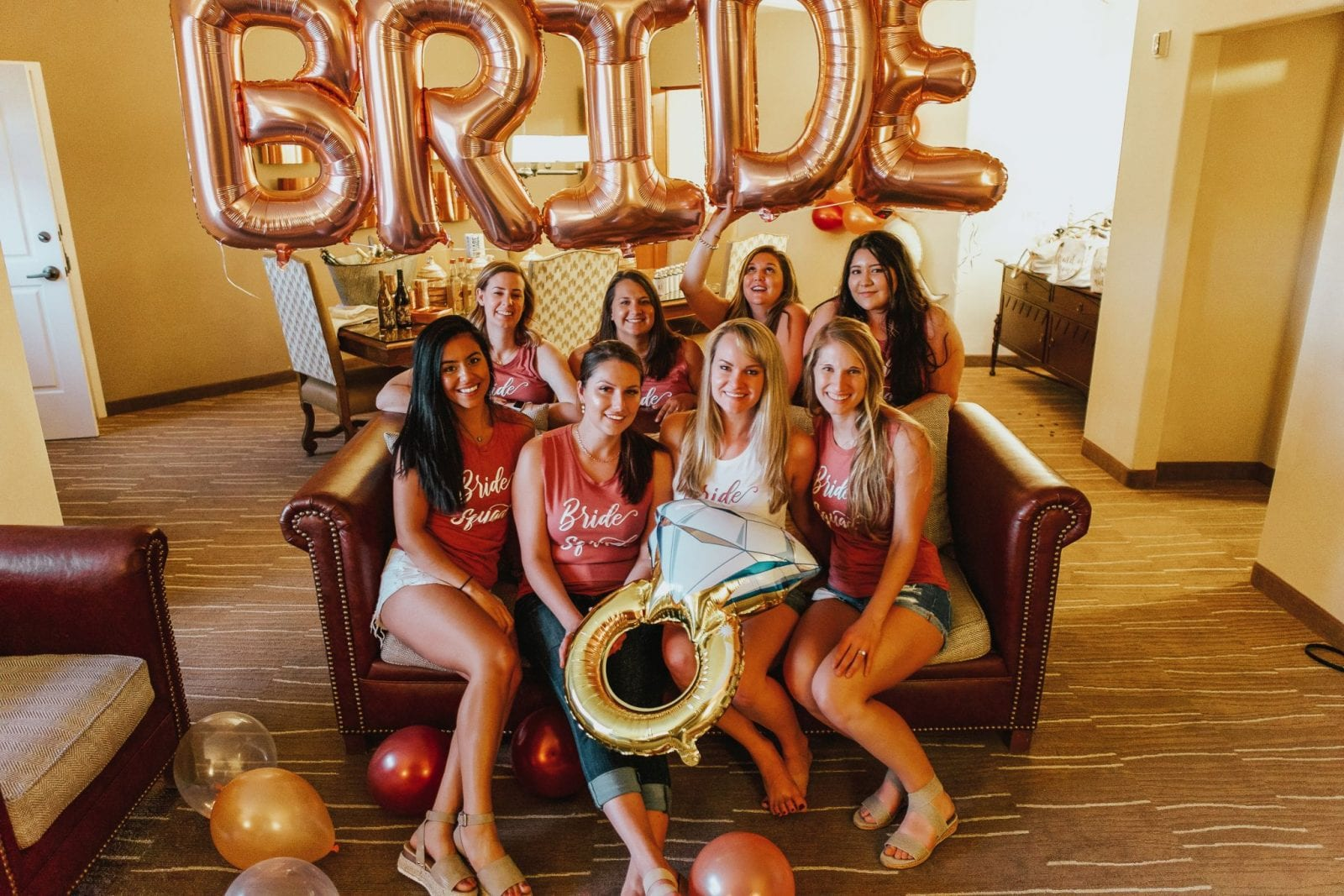 This is a cute photo of all the bridesmaids for Kelly's Bachelorette Weekend.