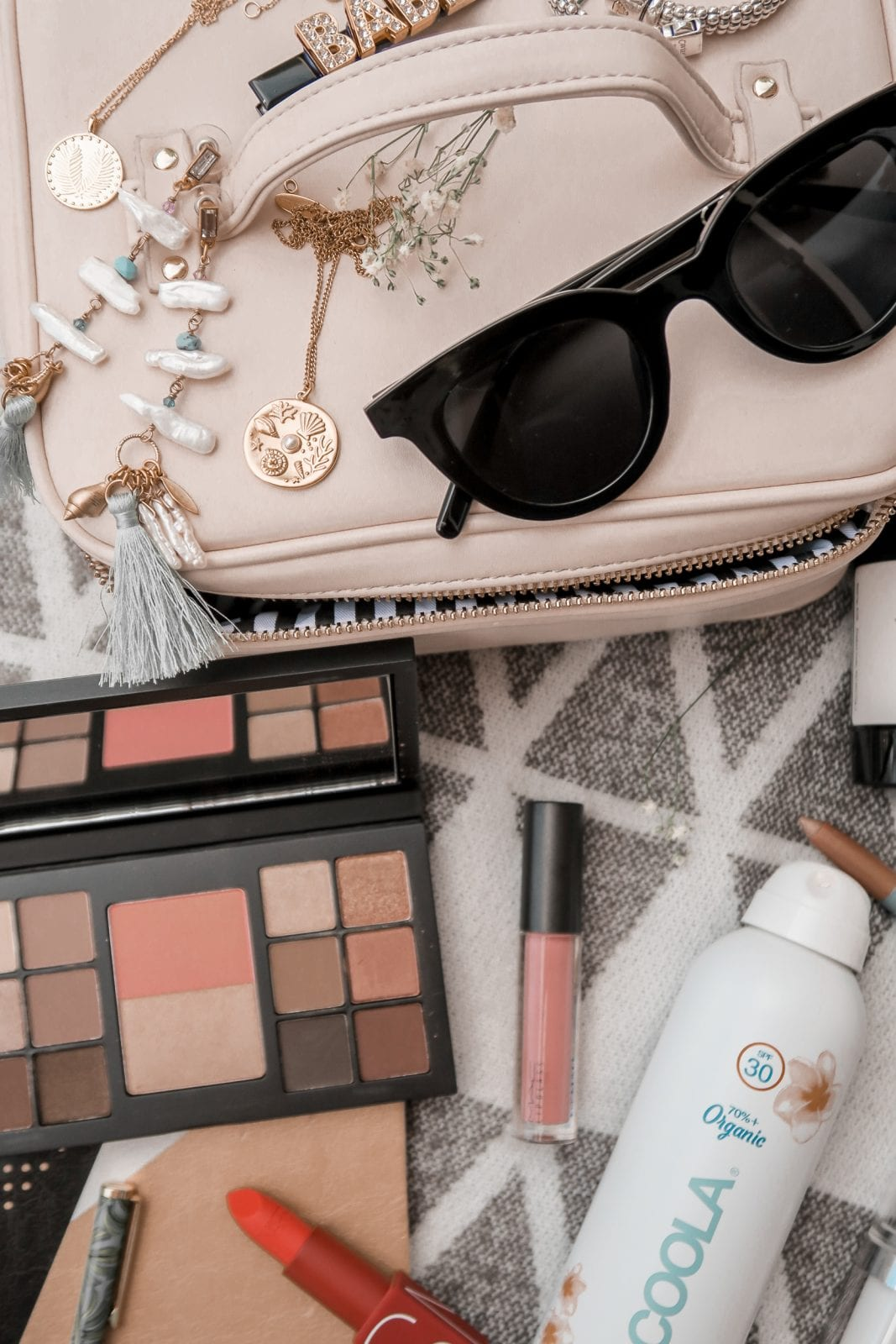 This is a partial flatlay of my monthly favorites in the beauty and fashion space, including products from MAC Cosmetics, NARS and Conges.