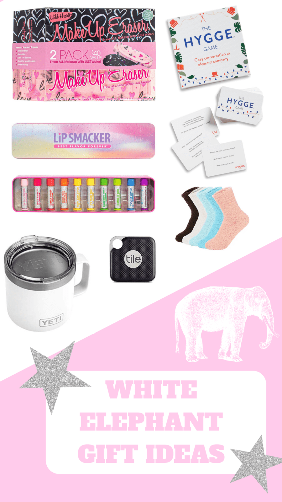 there are various white elephant gift ideas here, including a yeti coffee mug, chapsticks, makeup erasers, fuzzy socks, a tile device, and card games.