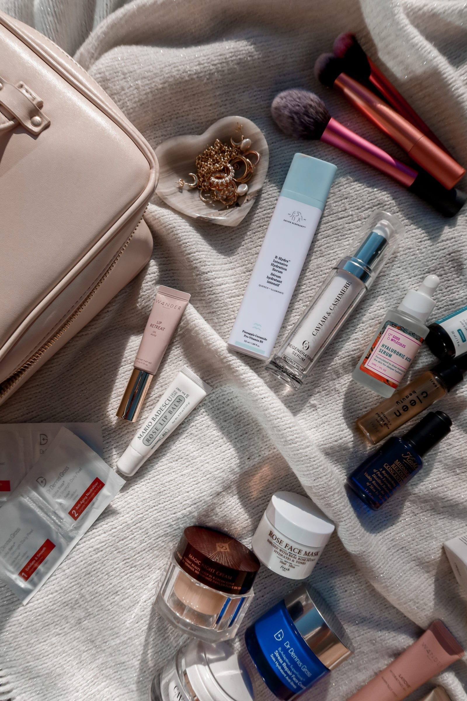 This is a flat lay of the best skincare products which are perfect for dry skin.