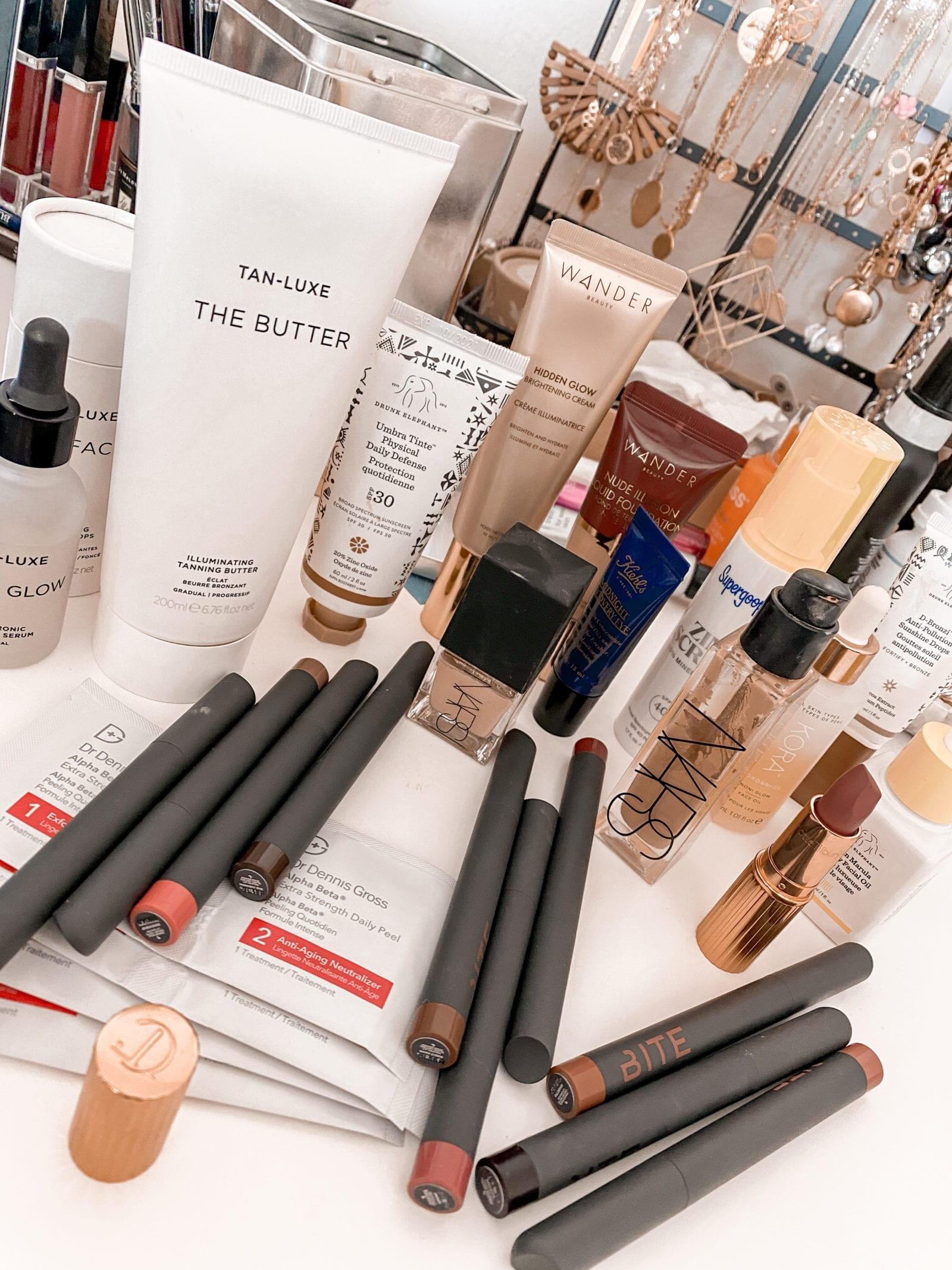 This is a flat lay of Adaleta Avdic's favorite items at Sephora, which should be shopped during the Sephora Spring Sale.