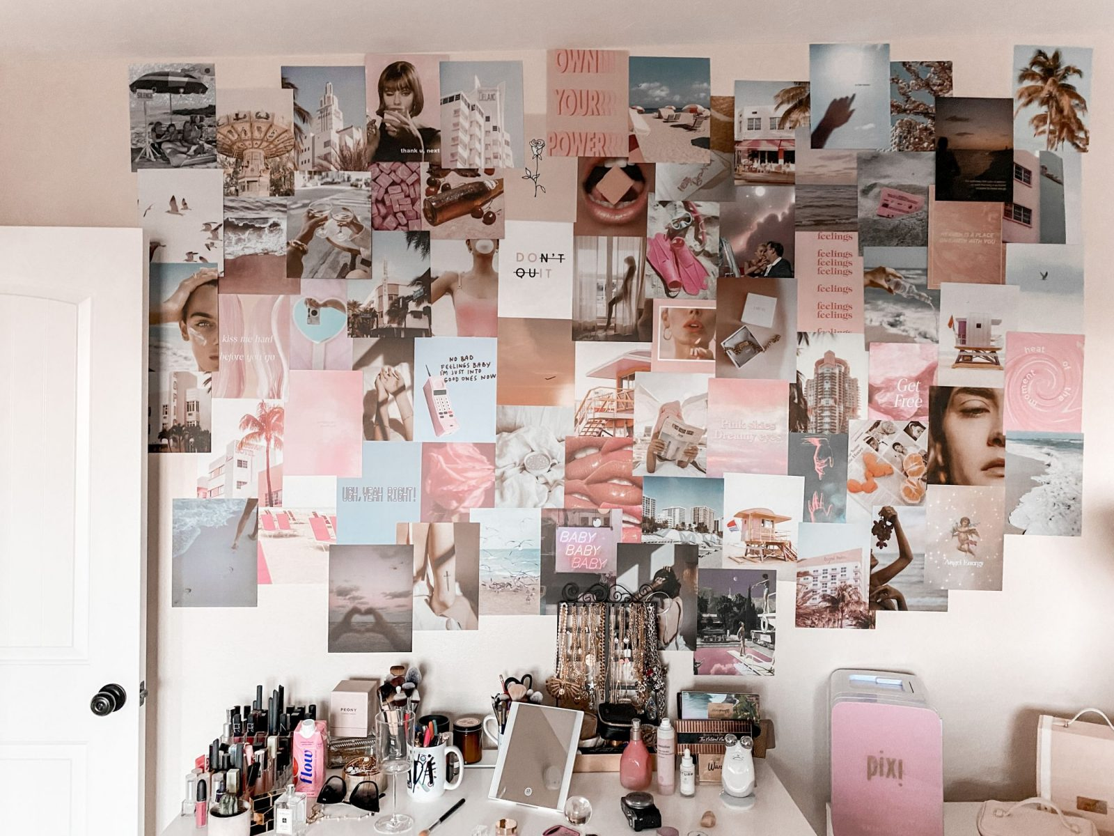 This is a horizontal capture of Adaleta Avdić's office, featuring a pink Tezza collage kit.