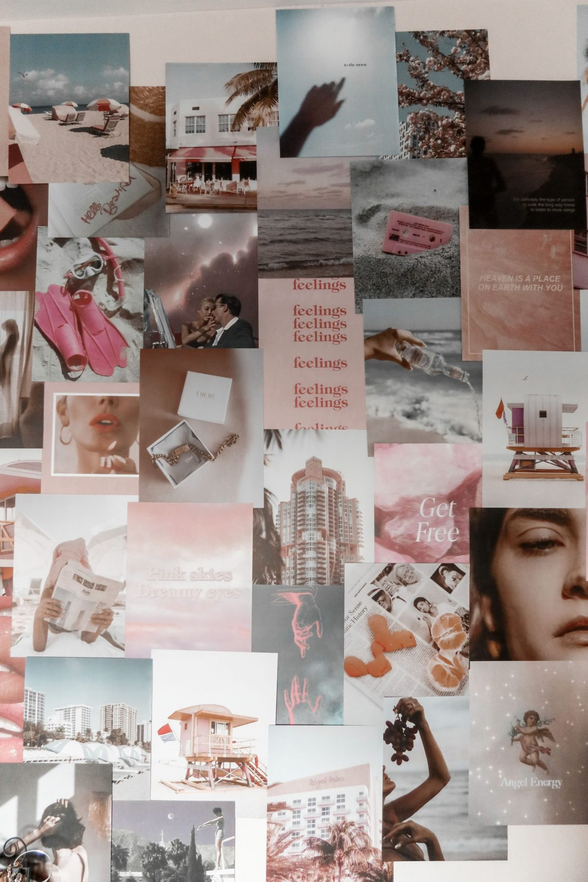 This is an image of a collage wall using the pink Tezza collage kit, to decorate an office wall.