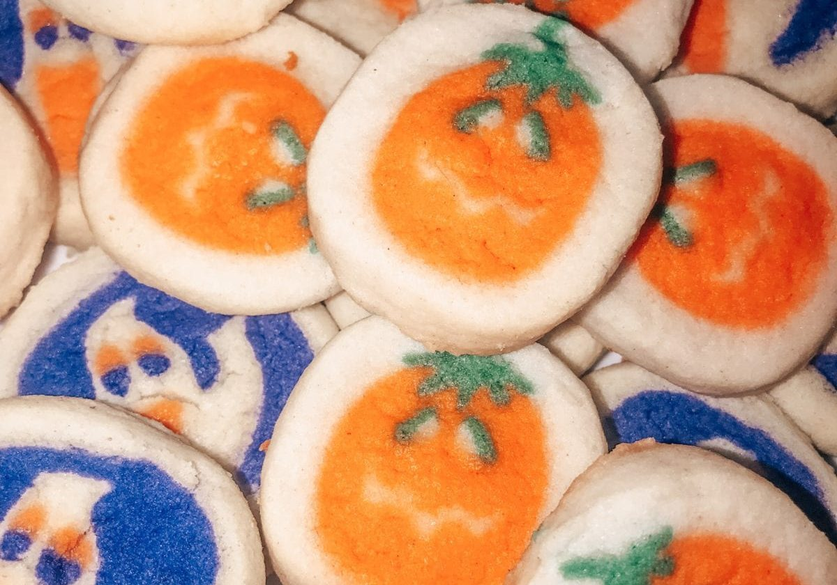 in this photo, Halloween cookies are displayed after coming out of the oven.